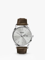Sekonda 'S Day Date Leather Strap Watch Brown Silver 1661