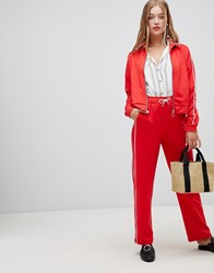 New Look Shiny Piped Jogger Bright Red
