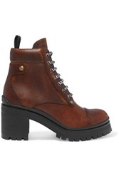 Miu Miu Lace Up Leather Ankle Boots Brown