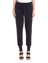 Donna Karan Ribbed Cashmere Track Pants Natural Black