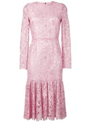 Dolce And Gabbana Lace Peplum Dress Pink Purple