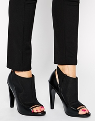 Asos Empire State Of Mind Peep Toe Shoe Boots Black