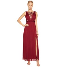 Adrianna Papell Sequin Lace Sleeveless Tulle Gown Black Cherry Women's Dress Burgundy
