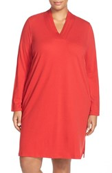 Plus Size Women's Lauren Ralph Lauren 'Emsworth' Cotton Nightgown Holiday Red