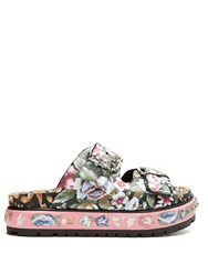 Alexander Mcqueen Floral Print Leather Flatform Sandals Black Multi