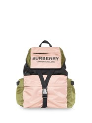Burberry Logo Print Tri Tone Nylon Backpack Pink