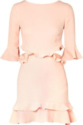 Rachel Zoe Karly Cutout Ruffled Crepe Mini Dress Pastel Pink
