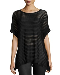 Neiman Marcus Sheer Stripe Short Sleeve Tunic Black