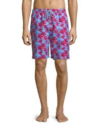 Peter Millar Spanish Flowers Swim Trunks Medium Blue