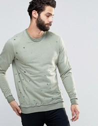 Only And Sons Crew Neck Sweat With Oil Wash Detail Bronze Green