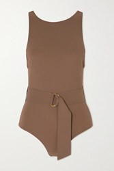 Karla Colletto Angelina Belted Swimsuit Tan
