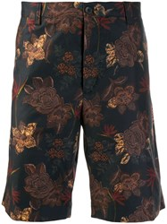 Etro Floral Embroidered Shorts Blue