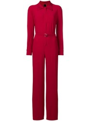 Norma Kamali Belted Jumpsuit Red