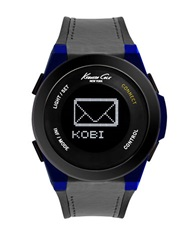 Kenneth Cole Connect Black Plated And Blue Silicone Strap Watch