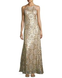 Nicole Miller New York Open Back Geometric Print Gown Gold