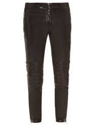 Balmain Biker Contrast Panel Leather Trousers Black