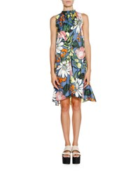 Marni Ruched Neck Floral Print Dress Blue