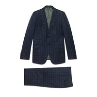 Gucci New Marseille Bees Wool Check Suit Blue Red