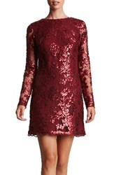 Dress The Population Women's 'Grace' Sequin Lace Long Sleeve Shift