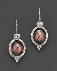 Judith Ripka Sterling Silver Oval Stone Earring With Heart On Wire In Raspberry Crystal
