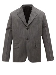Prada Single Breasted Wool Blend Jacket Grey