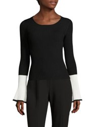 Scripted Colorblock Rib Knit Bell Sleeve Sweater Black