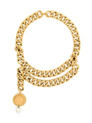 Chanel Vintage Chunky Chains Necklace Metallic