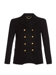 Burberry Double Breasted Cashmere Military Jacket Black