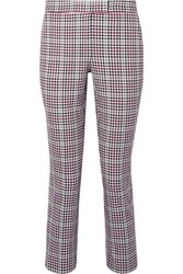 Michael Michael Kors Cropped Checked Stretch Cady Slim Fit Pants Plum