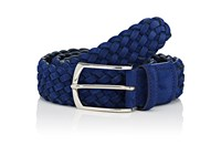 Simonnot Godard Men's Woven Nubuck Belt Blue