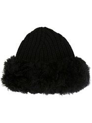 Dolce And Gabbana Fur Trim Ribbed Hat Black