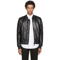 Pyer Moss Black Leather Taxi Driver Ma 1 Bomber Jacket