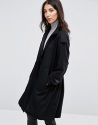 Selected Vivi Loose Draped Coat Black