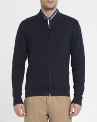 Tommy Hilfiger Navy College Zipped Cotton Cardigan Blue