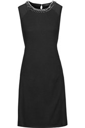 Magaschoni Embellished Silk Paneled Silk And Cashmere Blend Dress Black