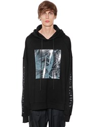 Juun.J Hooded Printed Cotton Sweatshirt Black