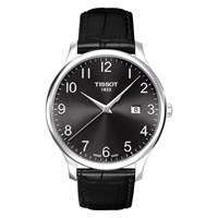 Tissot T0636101605200 Men's Tradition Date Leather Strap Watch Black