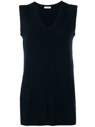 Pringle Of Scotland Cable Knit Sleeveless Top Blue