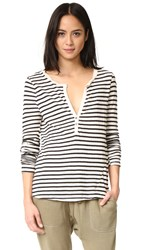 Pam And Gela Long Sleeve Stripe Henley Tee Black Cream