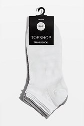 Topshop 3 Pack Technical Trainer White And Grey Socks Black