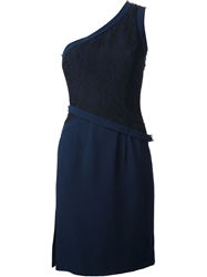 Azzaro Contrast One Shoulder Dress Blue