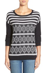 Petite Women's Caslon Side Zip Stripe Crewneck Sweater Black Ivory Pattern