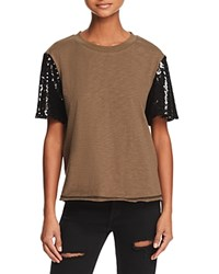 Honey Punch Sequined Sleeve Tee Olive