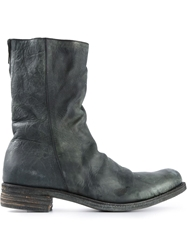 A Diciannoveventitre Double Zip Distressed Boots Grey