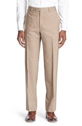 Men's Canali Flat Front Solid Wool Trousers Tan