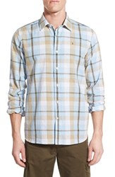 Men's Victorinox Swiss Army 'Neisen' Slim Fit Plaid Cotton And Linen Sport Shirt Shades Of Blue