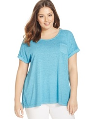 Style And Co. Plus Size Short Sleeve Patch Pocket Tee Teal Gem