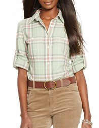 Lauren Ralph Lauren Petite Plaid Button Front Shirt Green Multi