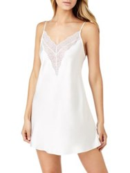 H Halston Satin And Lace Chemise White