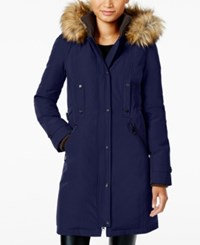 Vince Camuto Faux Fur Trim Hooded Parka Navy